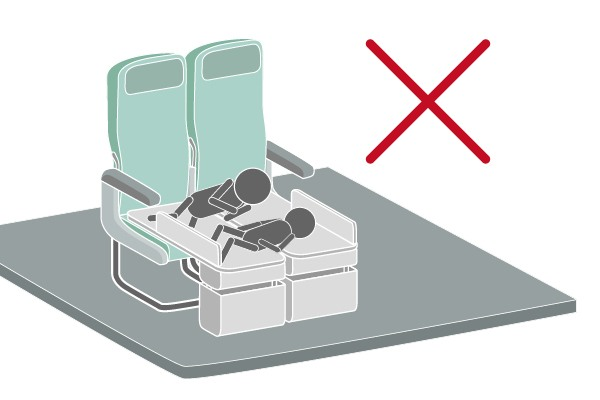 Utilizing two or more Bedboxes side-by-side across the seats in the same row to lie down is not permitted.
