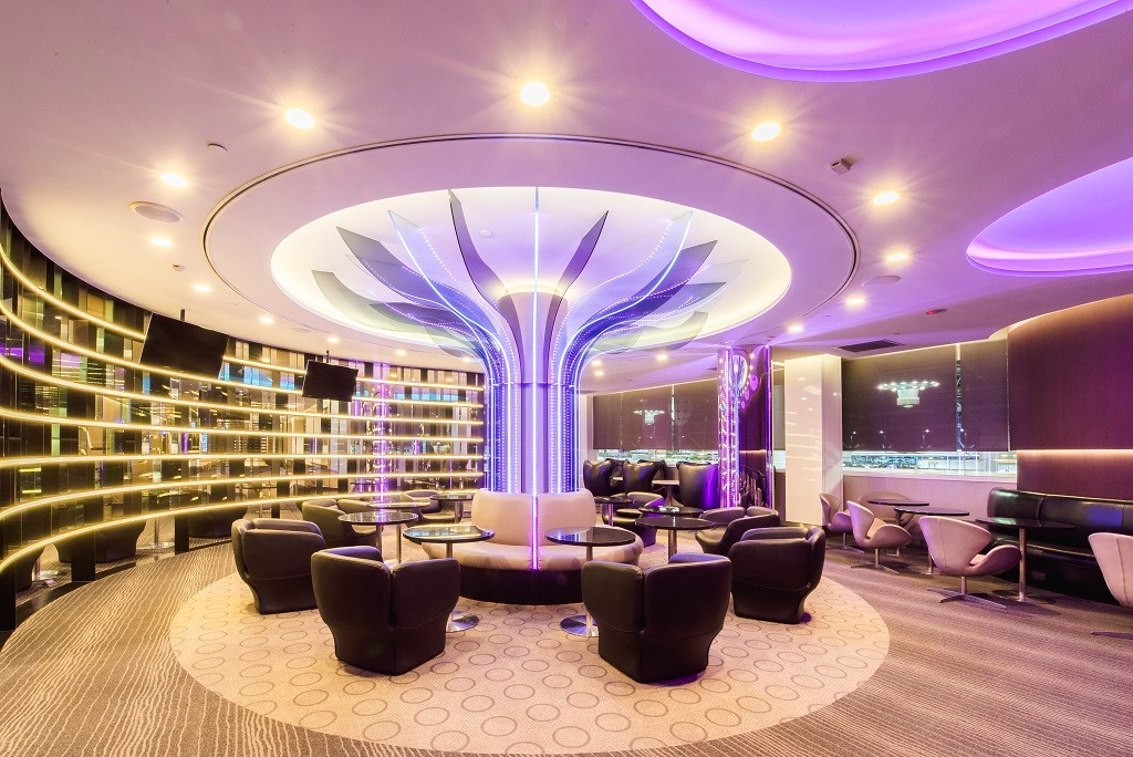 Purple illuminated VIP room